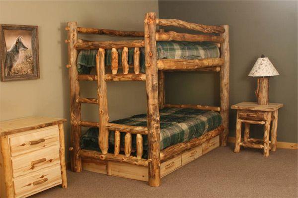 3 Drawer Underdresser Log Bunk Beds Rustic Bunk Beds Bunk Beds