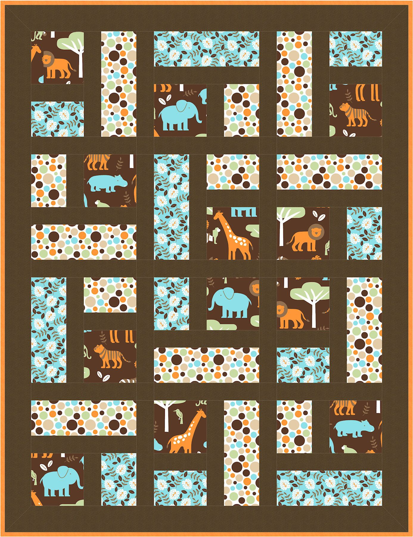 Borrow this idea for any theme quilt Menagerie yard print yard print and 1 yard sashing brown