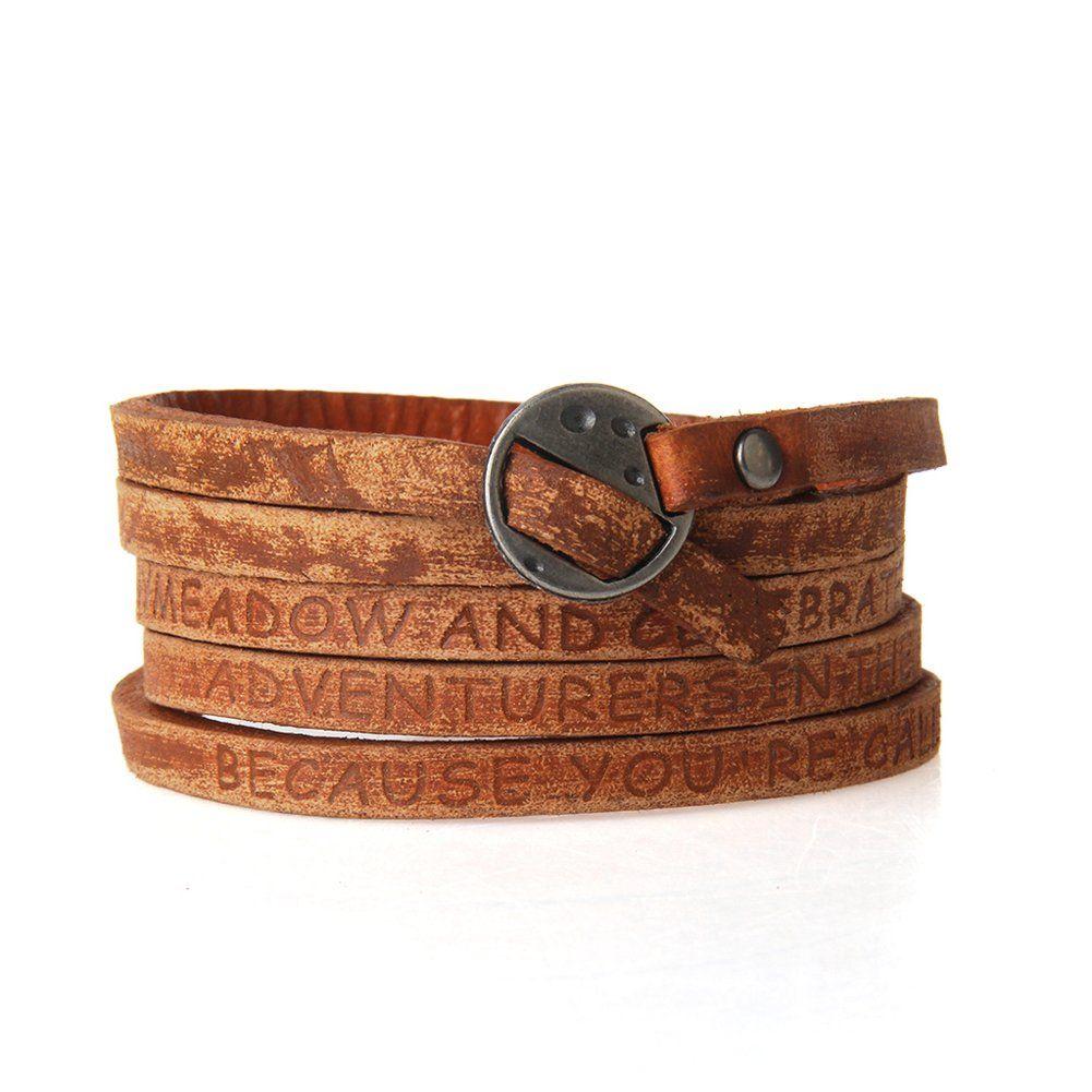Jenia Letter Engraved Soft Leather Bracelet Cuff Bangle Rope Multilayer Design
