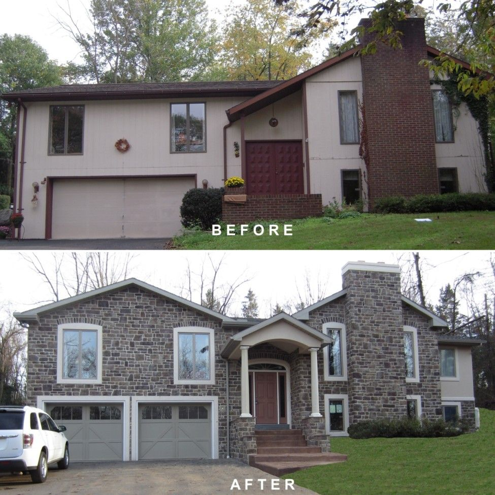 Bi level exterior remodeling bi level exterior make over remodeling addition dryvit man Home redesign
