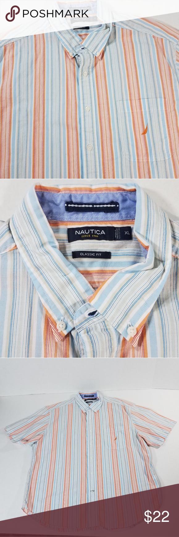 f03520eb61 Nautica Short Sleeve Button Down Shirt Men's XL Nautica Short Sleeve Button  Down Shirt Classic Fit