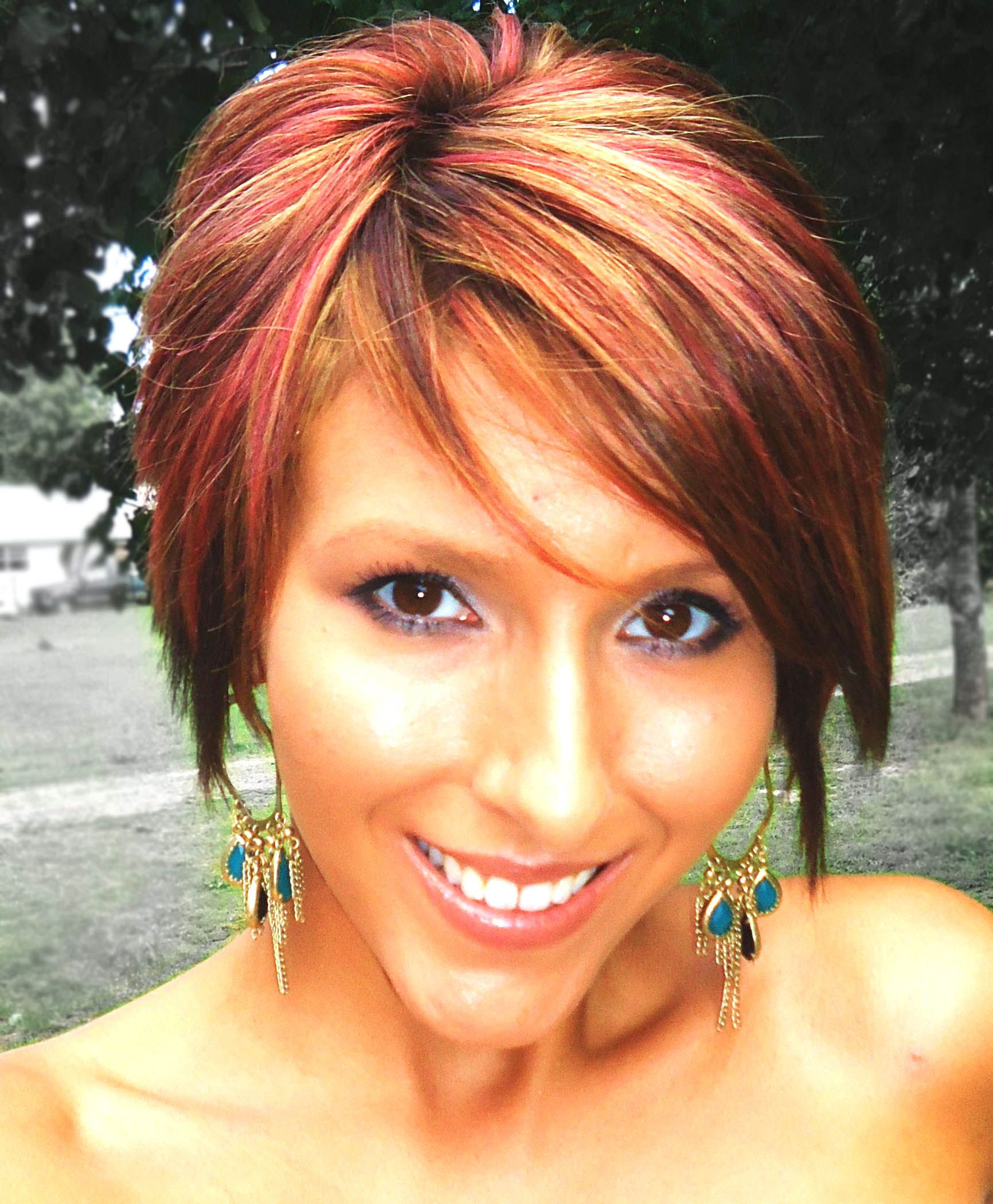 Short boblong pixie red highlights hair pinterest long pixie