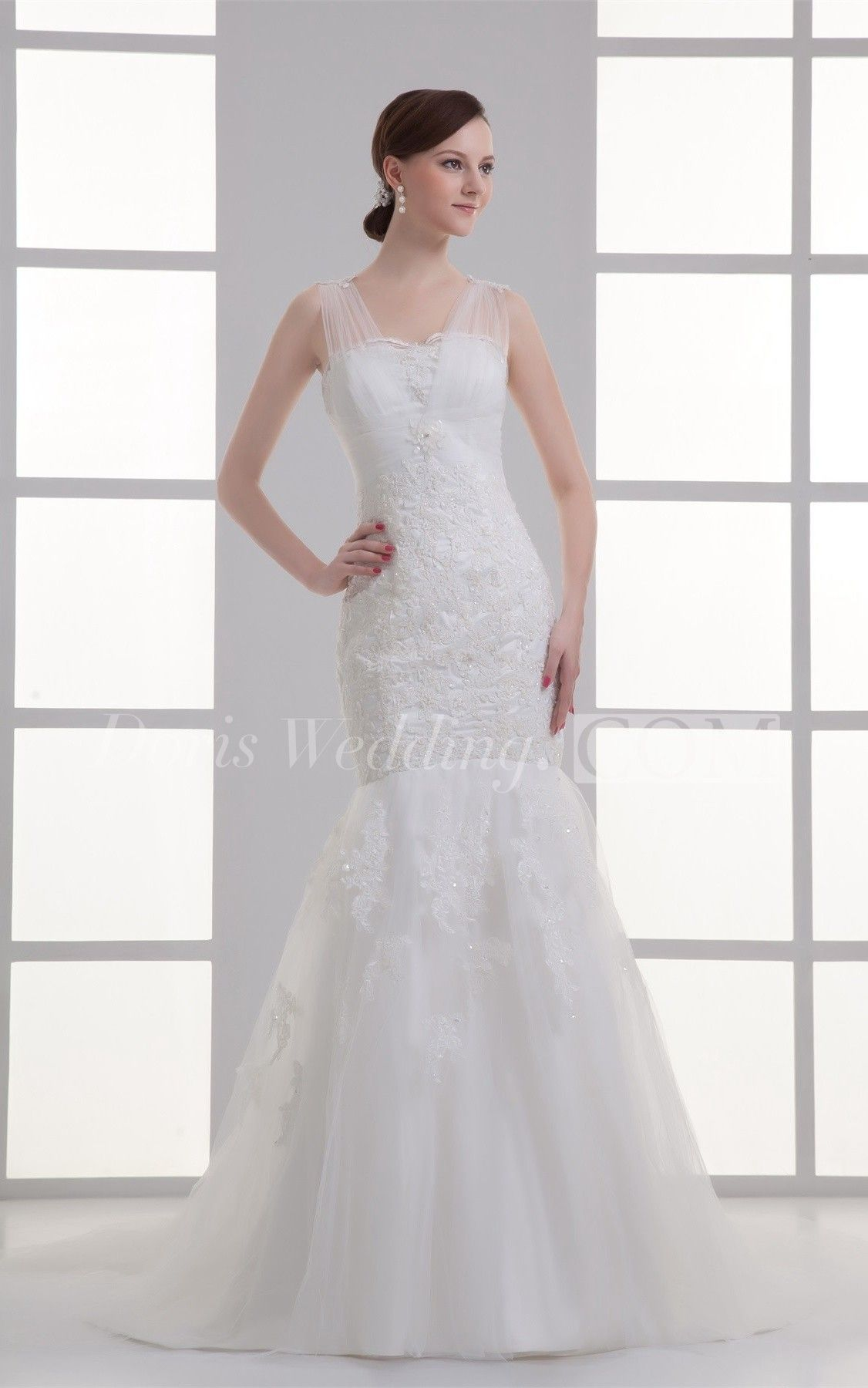 Elegant satin trumpet v neck most wedding dresses trumpets
