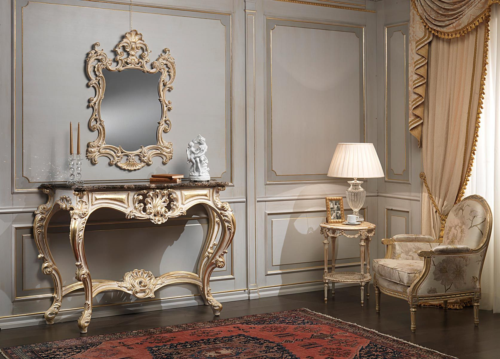 Carved console with Emperador marble top and carved mirror, all finishing white…