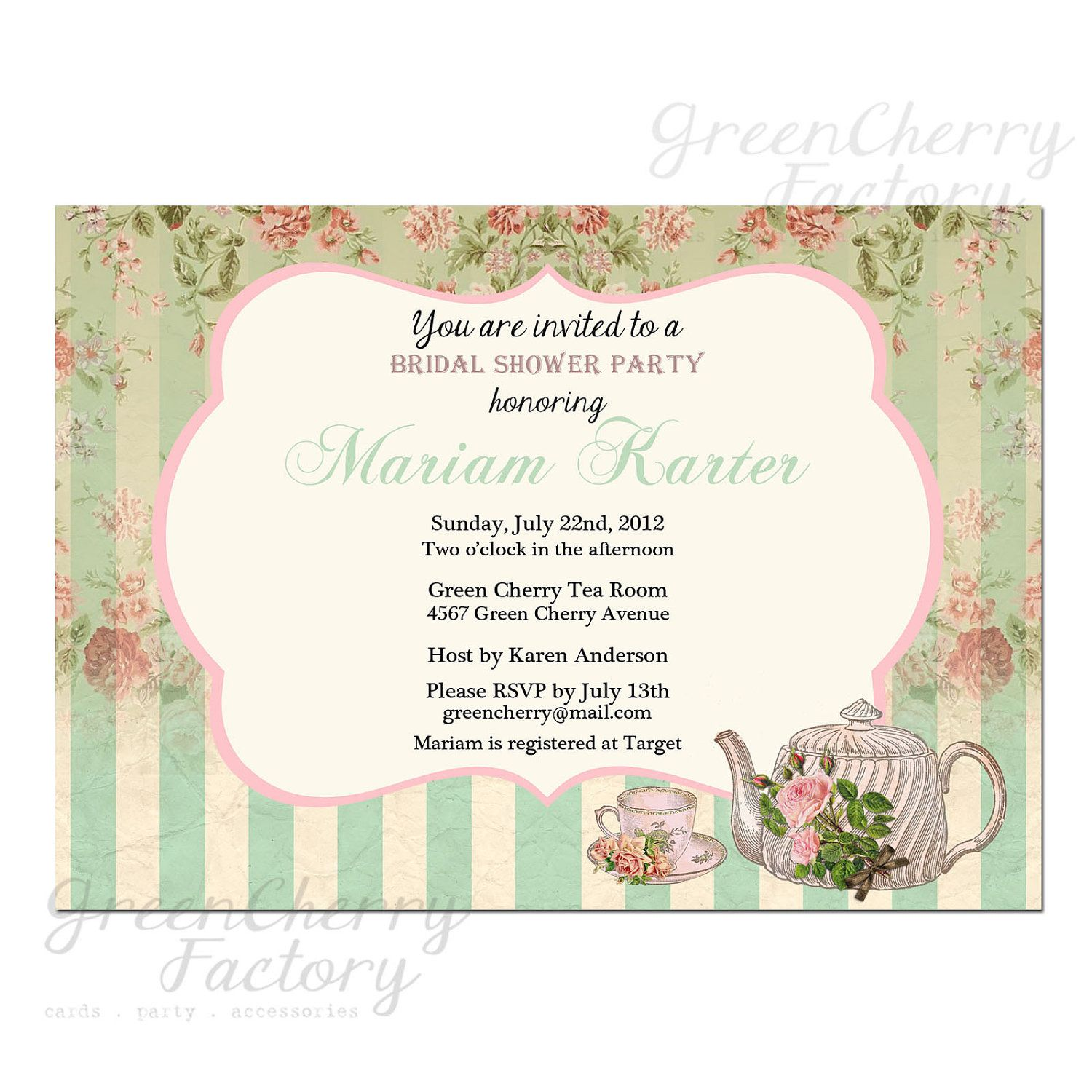 Mint Garden Tea Party Invitation  Party    Tea Party