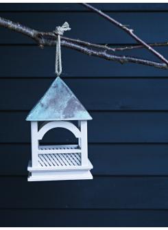 Latticed hanging bird table... isn't it pretty?