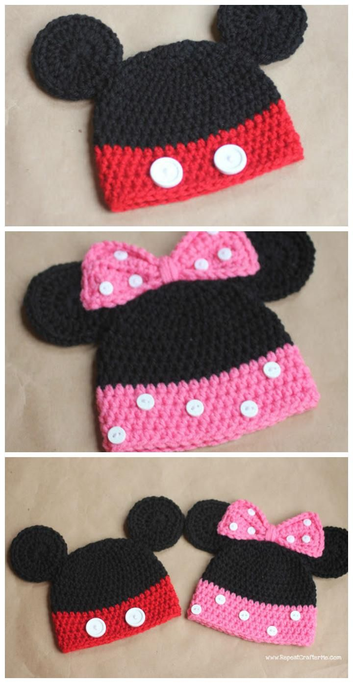Crochet Baby Hats - 50 Free Crochet Hat Patterns | Minnie mouse ...