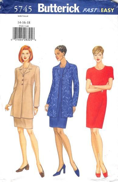 BUTTERICK 5745 - FROM 1998 - UNCUT - MISSES PETITE JACKET AND DRESS ...