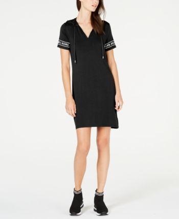 ef6ebf72c98 Michael Michael Kors Mkgo Logo-Sleeve Hoodie Dress - Black XXS