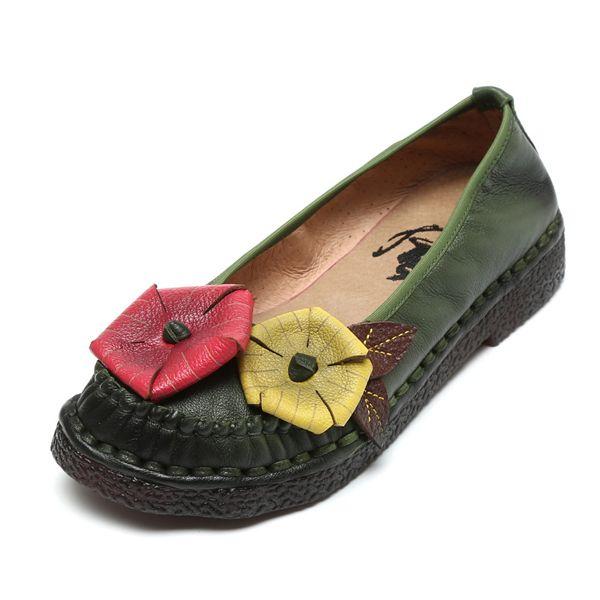 Rétro Socofy Feuilles Chaussures Plates En Cuir À La Main Couture De Motif aMfhb9l