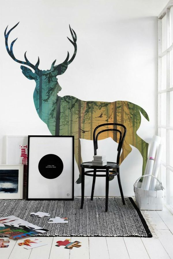 Traumhaft Wandgestaltung Mit Farbe Wand Streichen Ideen Wald Hirsch