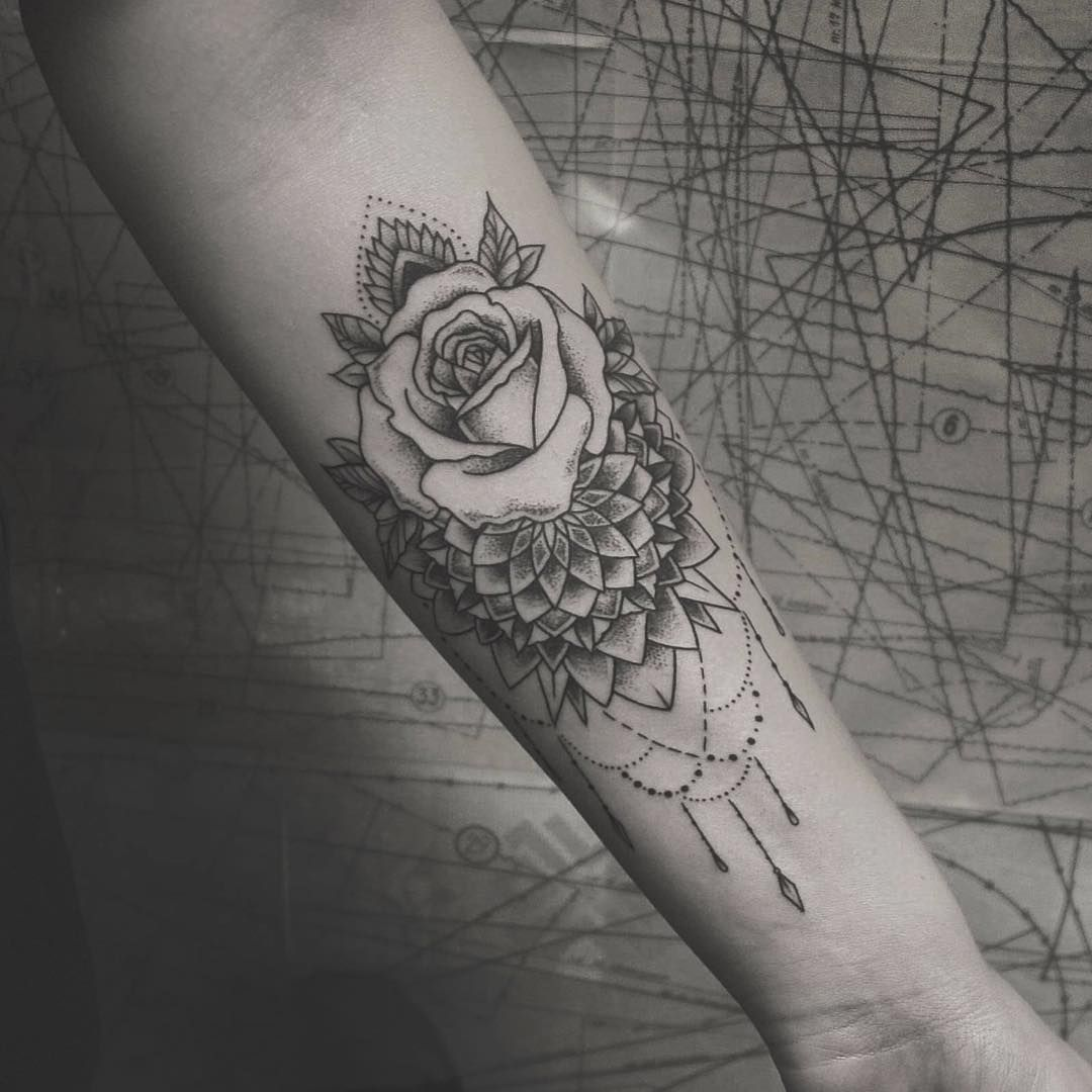 Mandala Rose Forearm Piece Tattoos Tattoos Mandala Tattoo
