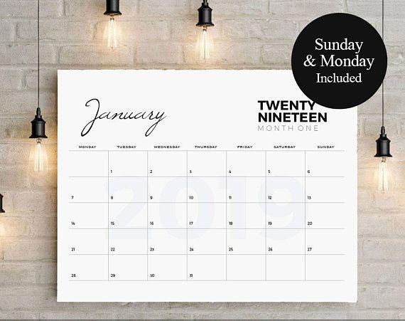 2019 Big Calendar, Large Wall Calendar, A3 Wall Calendar,Printable