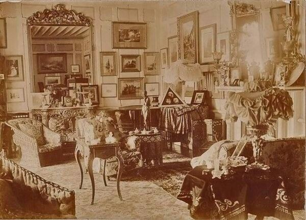 Vintage Victorian Era Photo Of A Very Posh Upper Middle Class Living Room. Victorian  Era