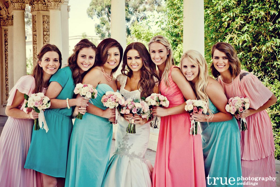 Mix Matched And Multi Colored Bridesmaid Dresses