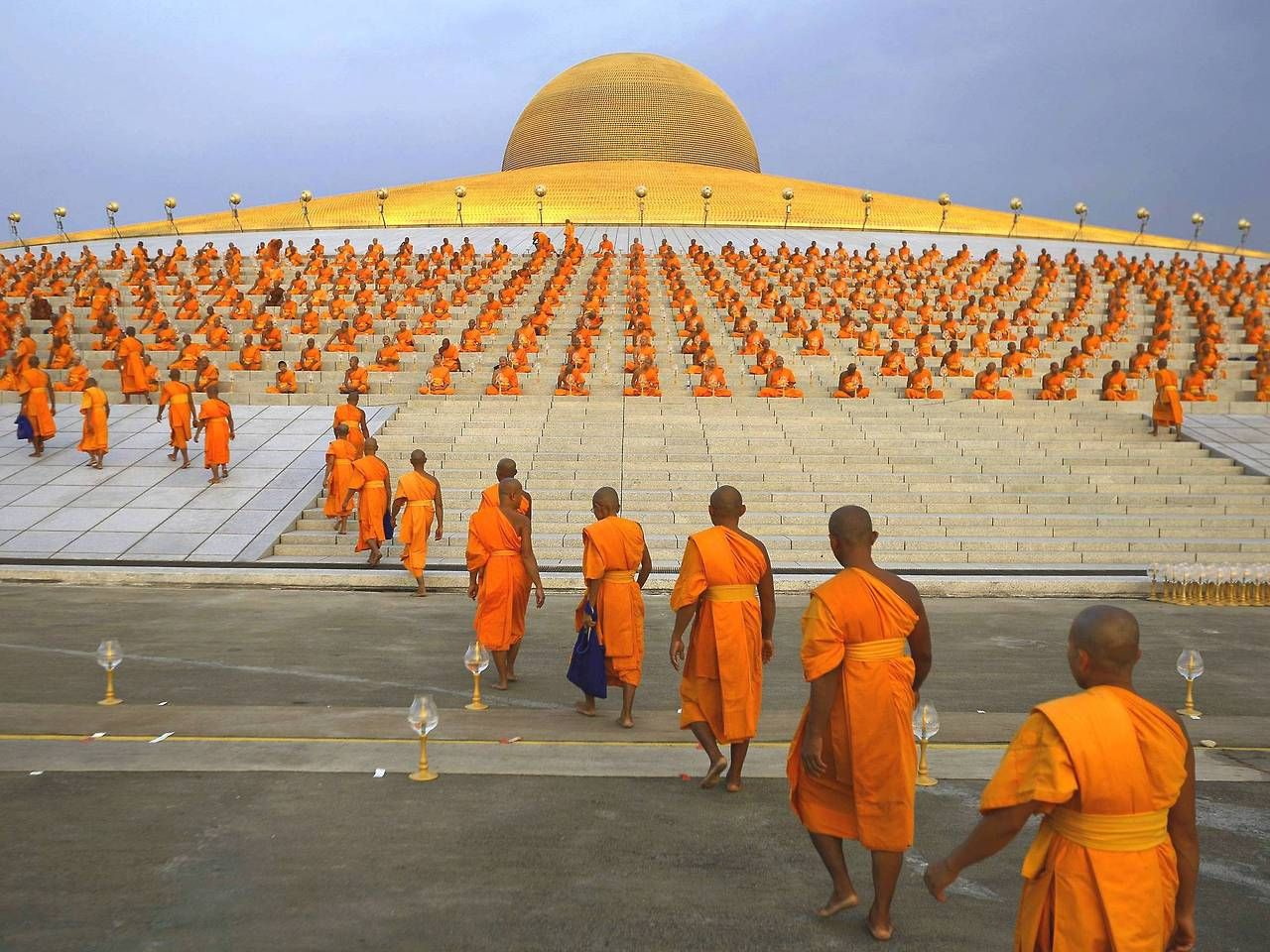 Buddhist Monks Going For Prayer At The Wat Phra Dhammakaya Temple In
