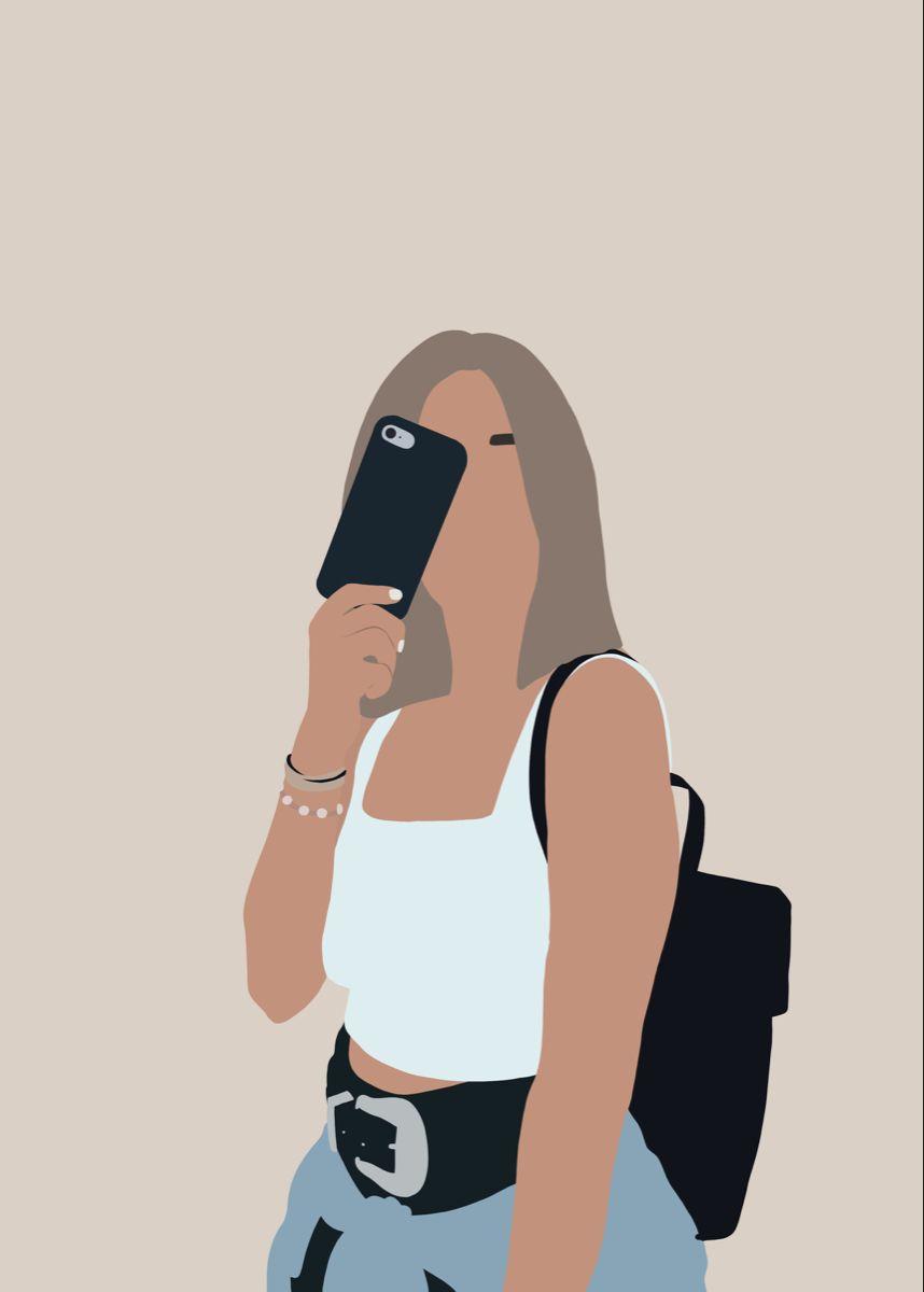 Custom one person portrait of woman girl aesthetic illustration