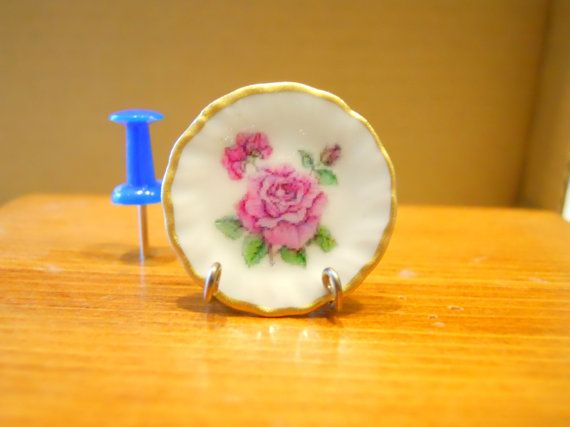 Dollhouse Miniature Plate Sweet  Shabby  Rose   1:12 Scale