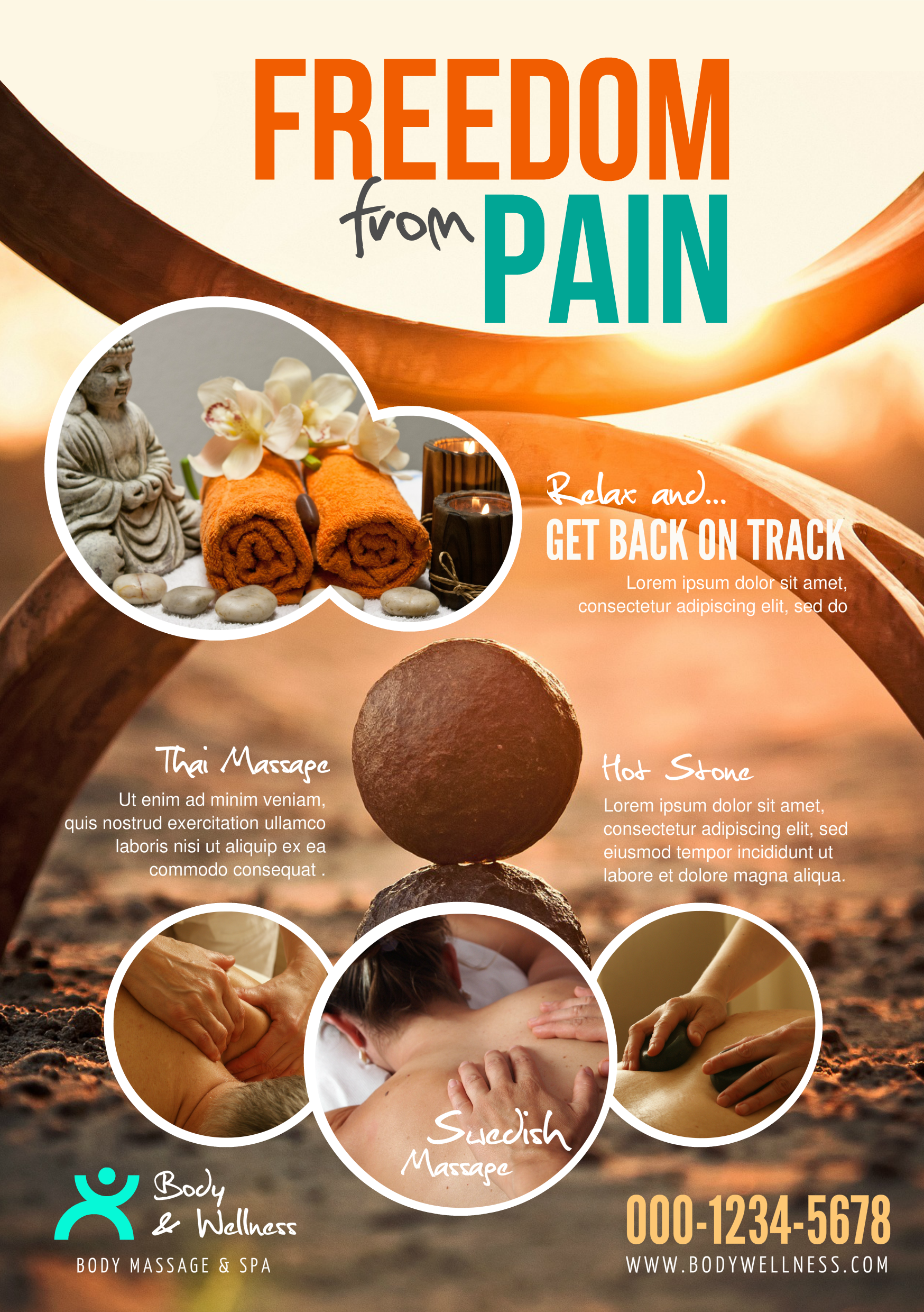 flyer a5 template created with youzign chiropractor free from pain