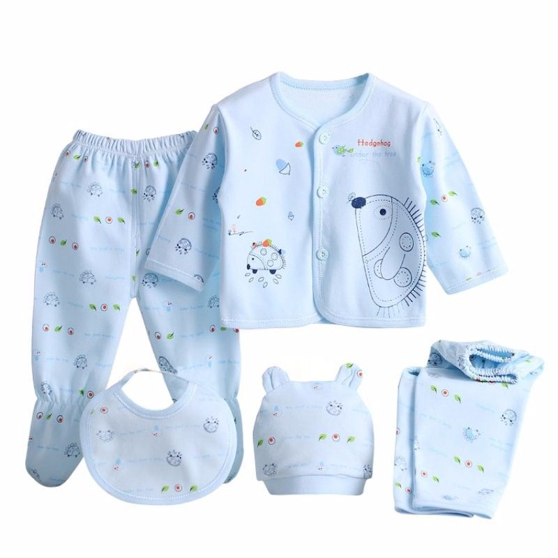 5PCS Newborn Baby Boy Girl Print Long Sleeve Tops+Hat+Pants Bib Outfit Clothes