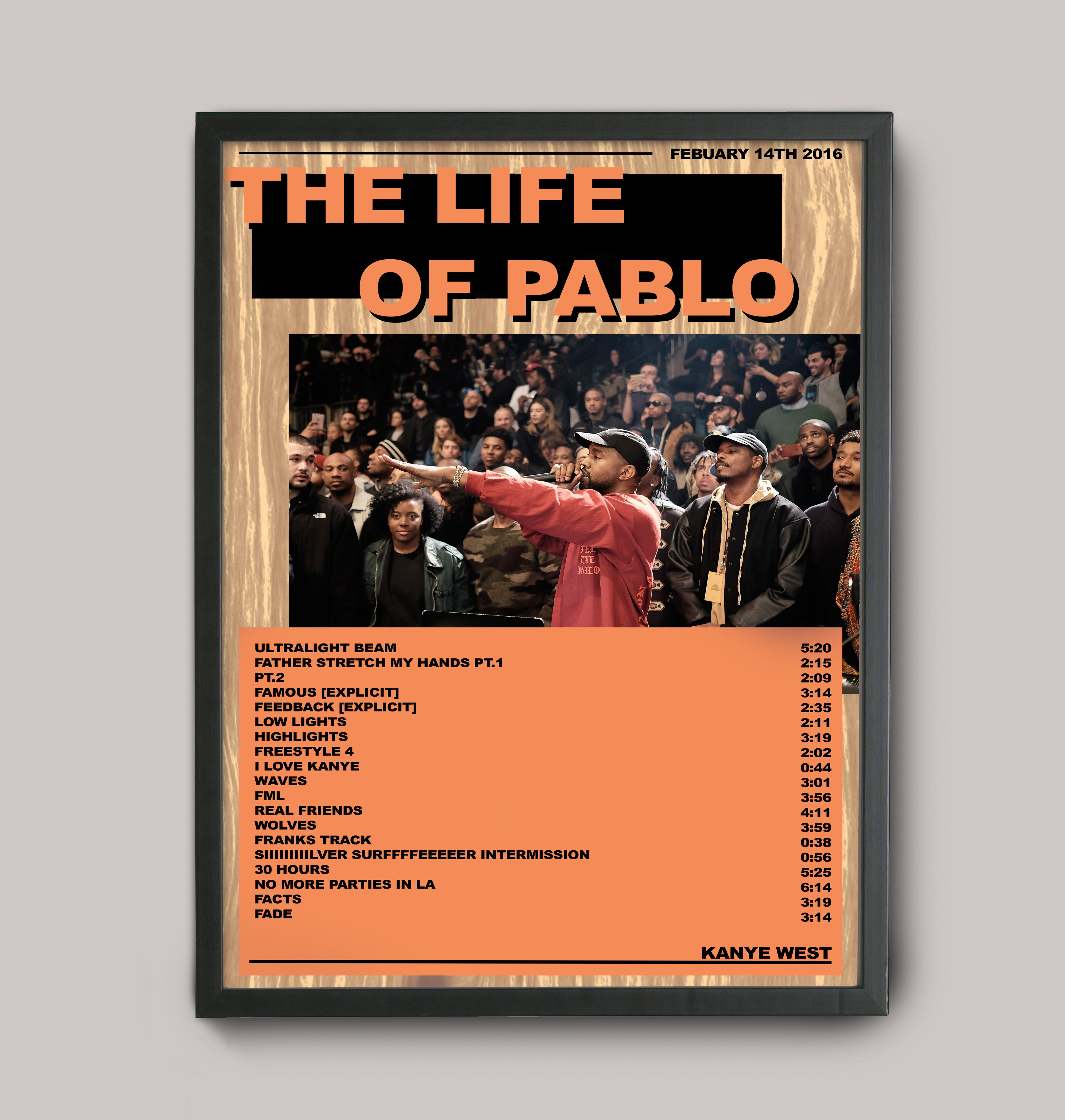 Kanye West The Life Of Pablo Custom Poster Personalised Posters Music Poster Unique Poster