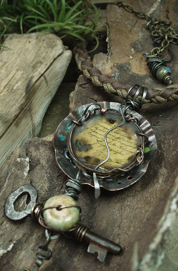 the Journey  Mixed Media Necklace by AlteredAlchemy on Etsy, $125.00