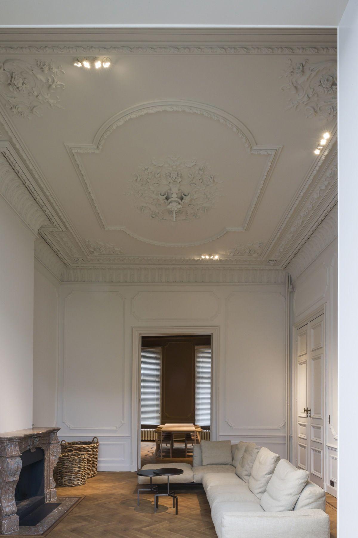 Stunning Historical Home Reno By Hans Verstuyft Architecten Ceiling Design Living RoomGypsum