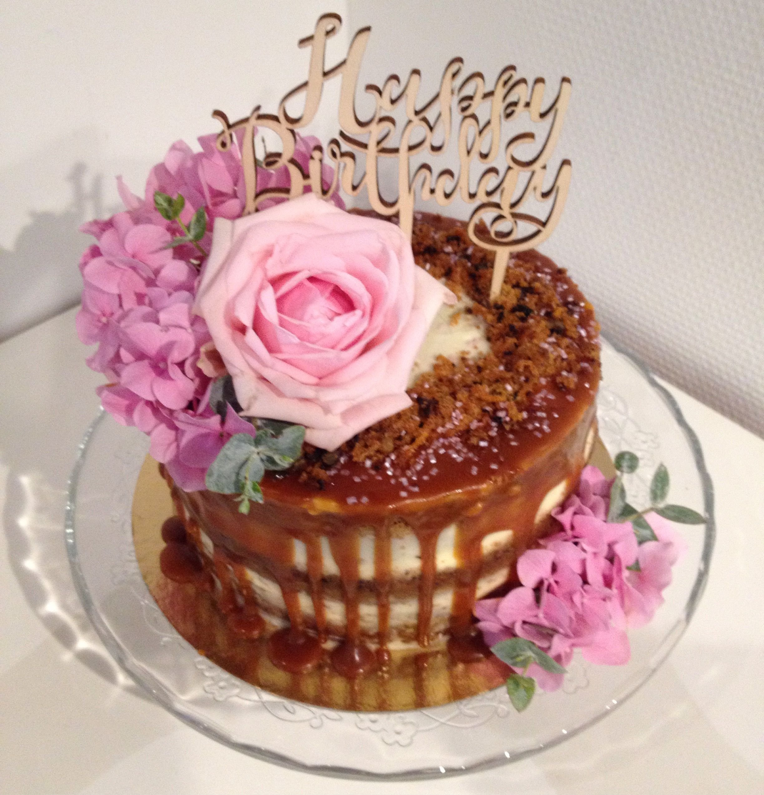 Carrot cake caramel drip cake and fresh blooms   Drip Cake ...