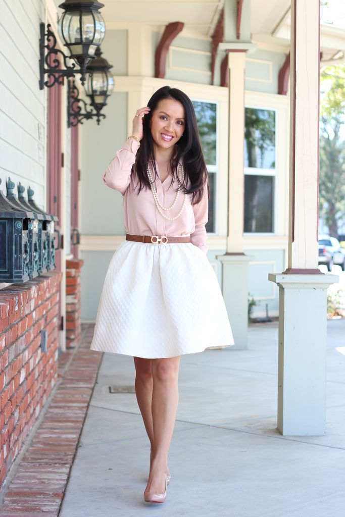bf8c10f49 White A-line skirt with Pink Blouse and Nude shoes StylishPetite.com | H