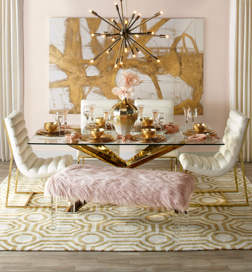 One Of The Secrets That You Should Know About Dining Rooms Regardless Of The Style You Choose Is To Mak Gold Dining Room Pink Dining Rooms Dining Table Decor