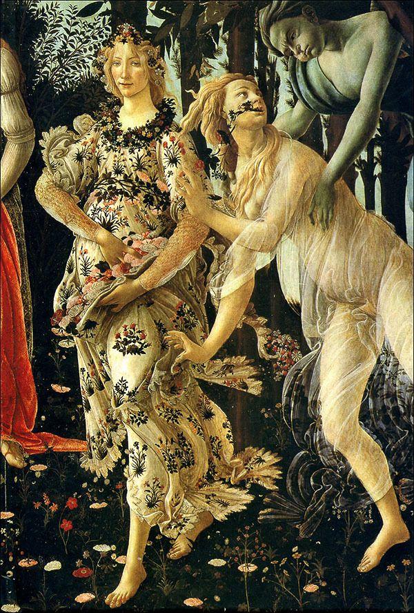Botticelli Primavera Detail Zefiro Clori Flora Sandro Botticelli Botticelli Renaissance Art