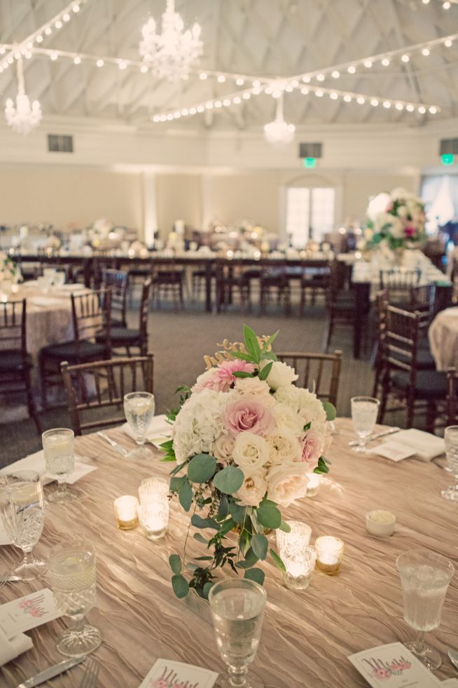 Beautiful, glamorous centerpieces at The Casino San Clemente. Garden roses, Cafe Aulet dahlia, hydrangea, peonies   Renee & Taylor's Wedding   Floral Occasions