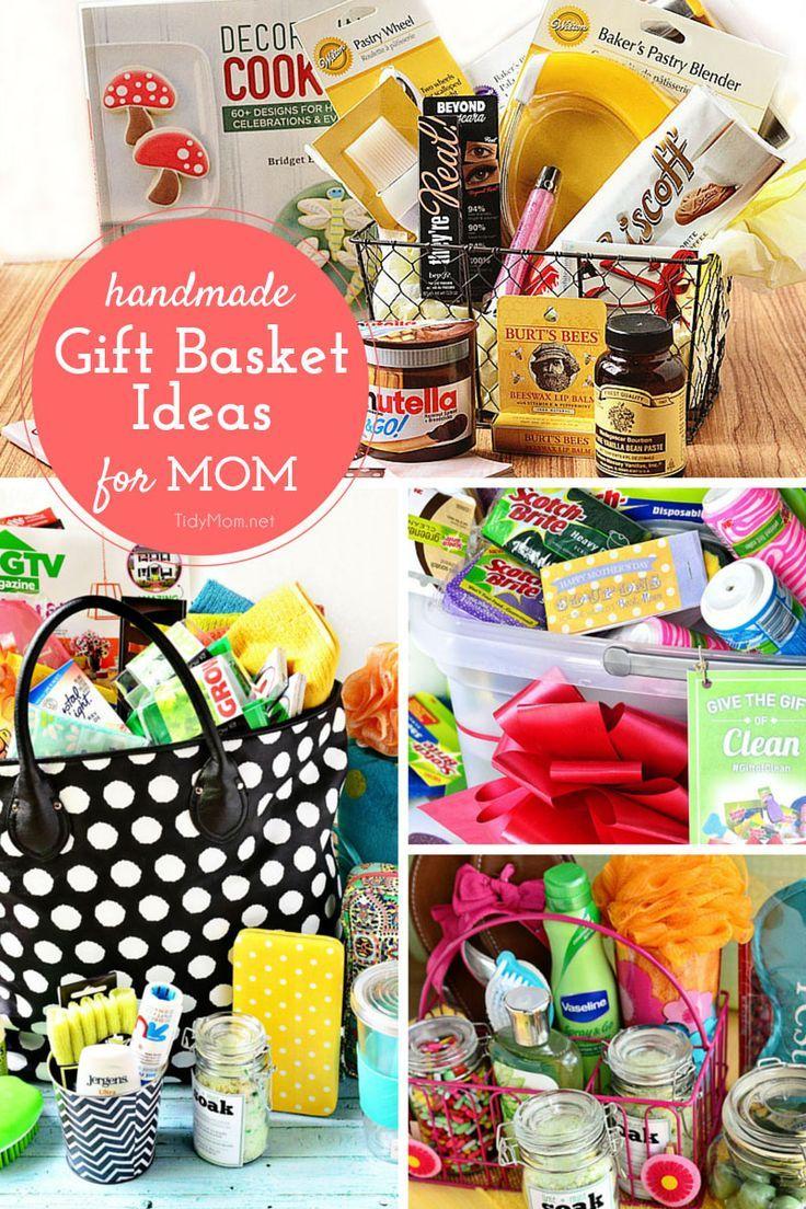 Handmade-Gift-Baskets-for-Mom- | Homemade gift baskets, Handmade gifts, Diy mothers day gifts