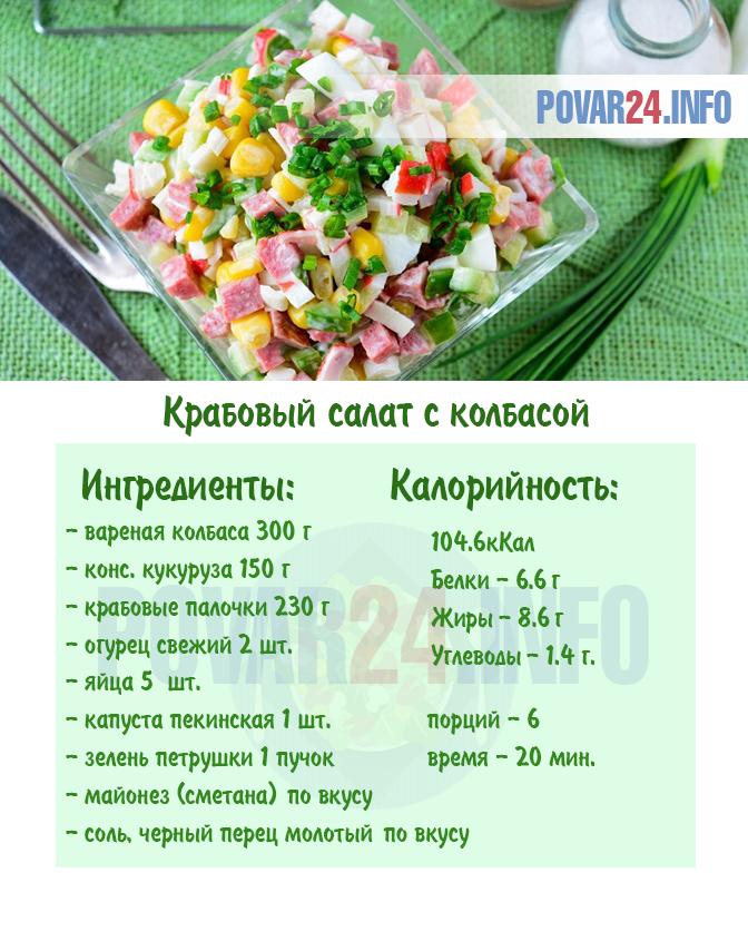 Салат с крабовыми палочками на сметане калорийность