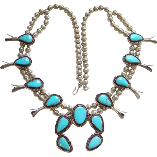 Old Navajo Turquoise Squash Blossom Necklace Sterling Silver 27 Inch Long Native American