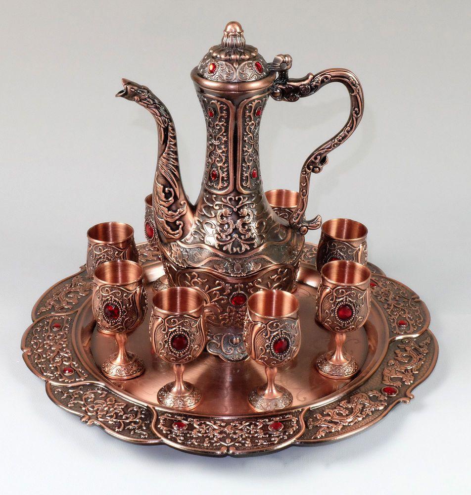 details about arabic oriental coffee tea or wine service decorative set 10 pcs color bronze