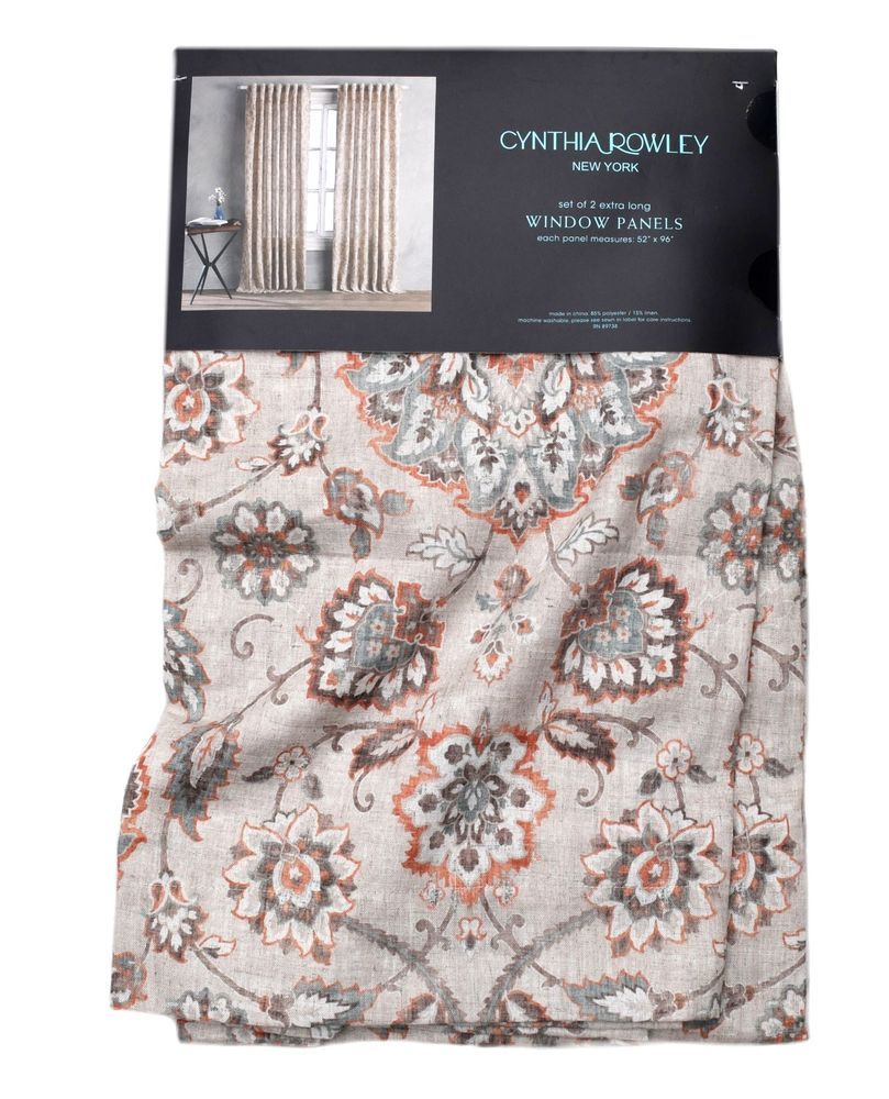 linen scrolls set floral curtains pin of cynthia window rowley panels drapes paisley