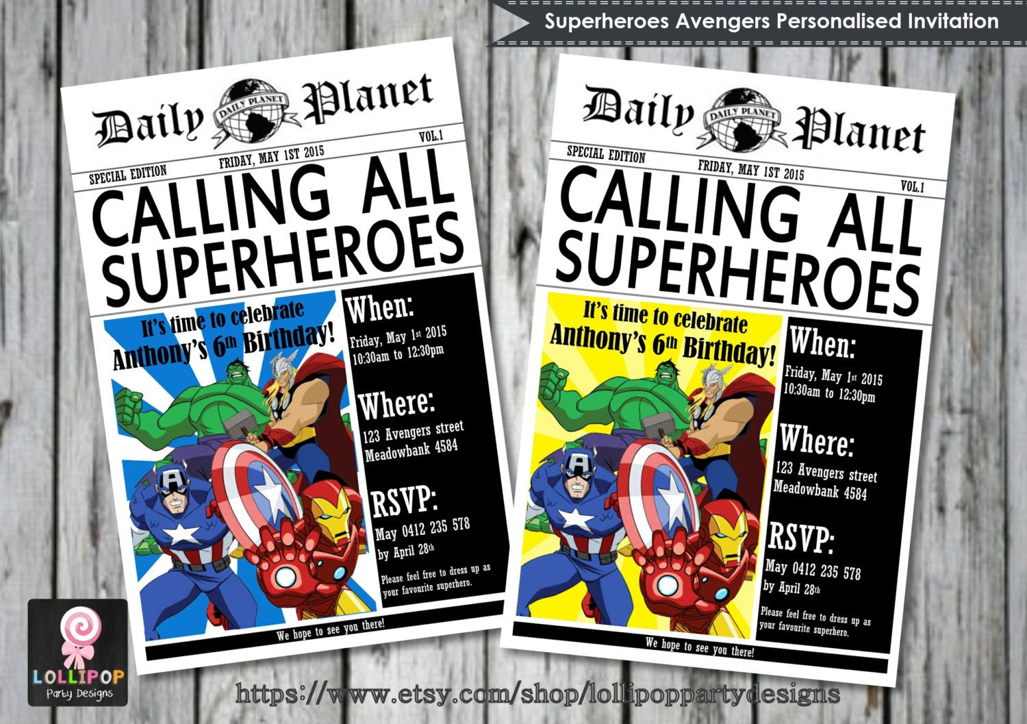 bday party invitation mail%0A Superhero birthday party invitations I made using Word  I downloaded free  newspaper fonts and found the images on Google  After folding them  I tie u