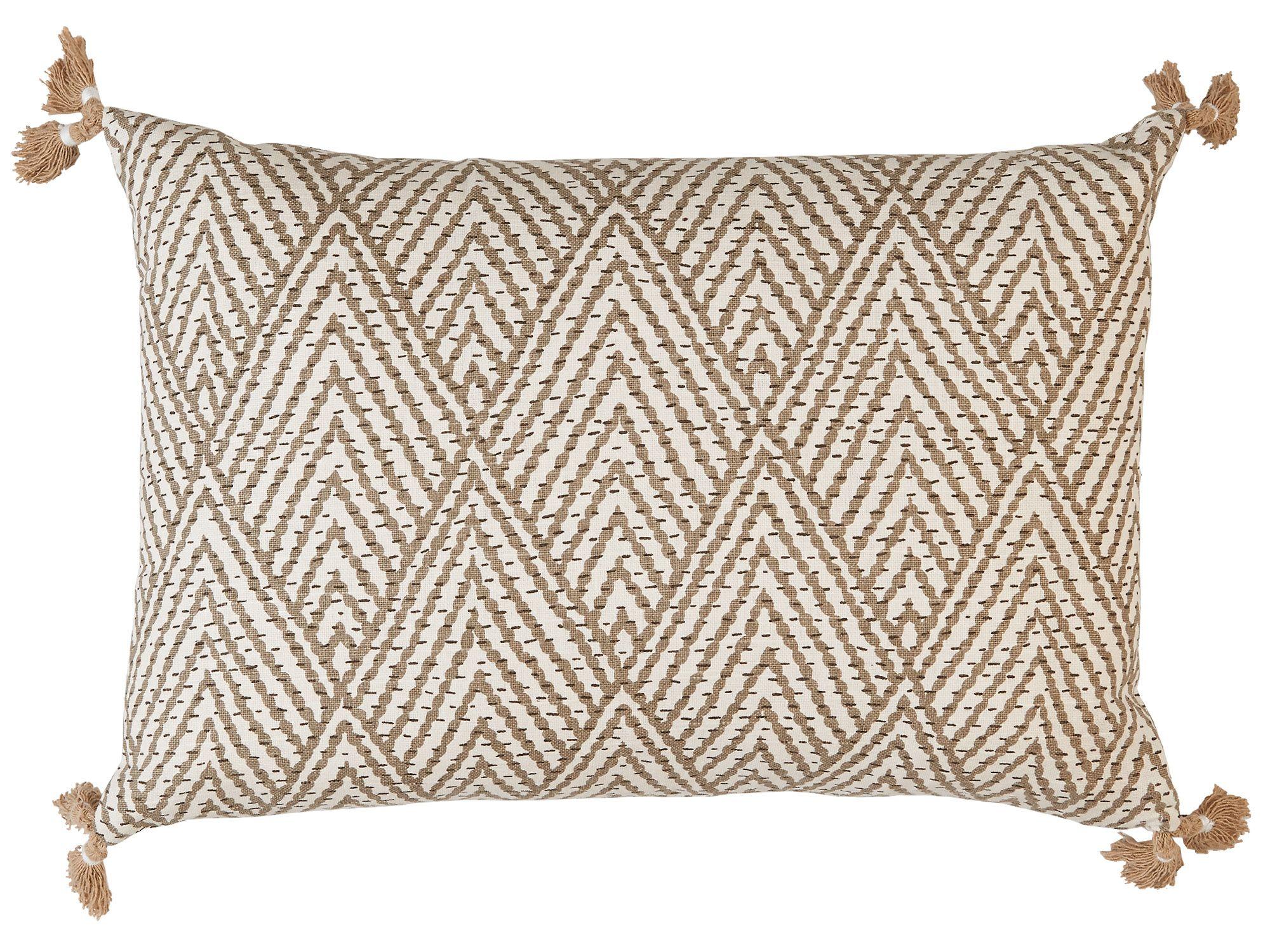 Tan/White Corner Tassel Chevron Pillow, Decorative throw pillow, accent  pillow, sofa