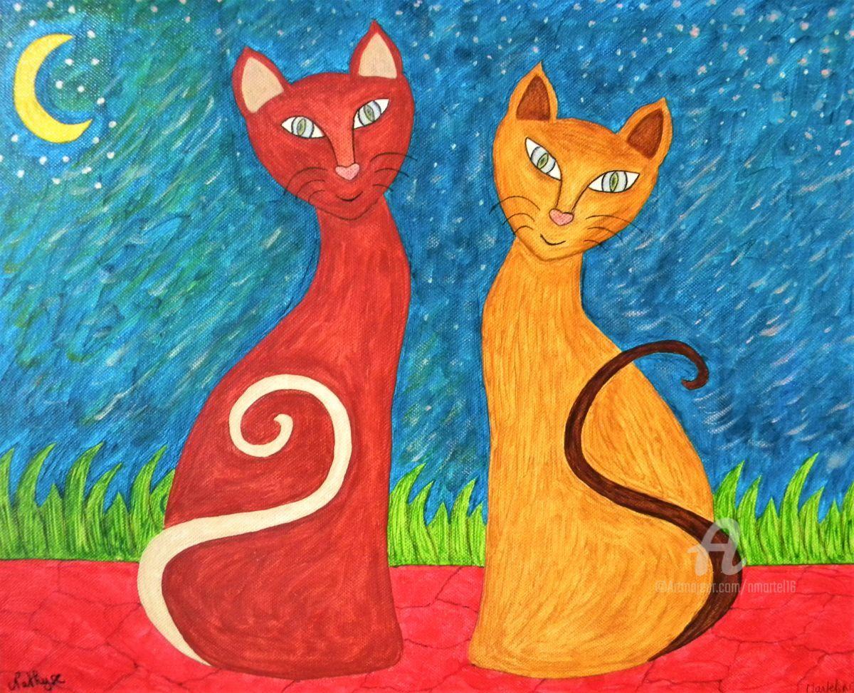 Les Chats-moureux du clair de lune (Peinture), 33x41 cm par Nathyse Rencontre amoureuse au clair de lune.