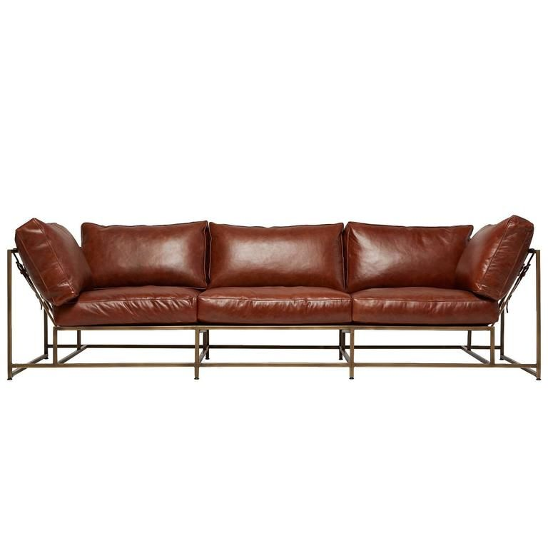 Walnut Brown Leather And Antique Brass Sofa Brass Sofas Antique Brass Leather