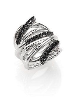 John Hardy Bamboo Ring With Black Sapphire I1KoKk3d5E
