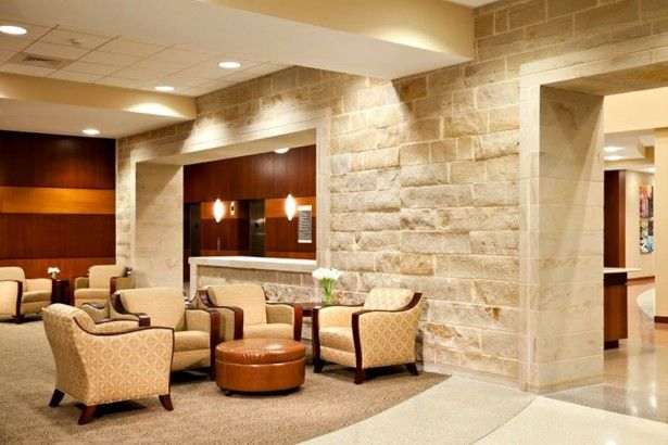 Amazing Commercial Interior Design Brick Wall Style Brown Arm Chair ...
