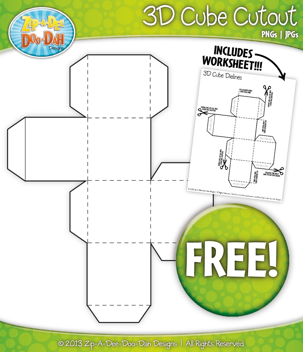 Free 3d Blank Cube Block Cutout Clipart And Worksheet