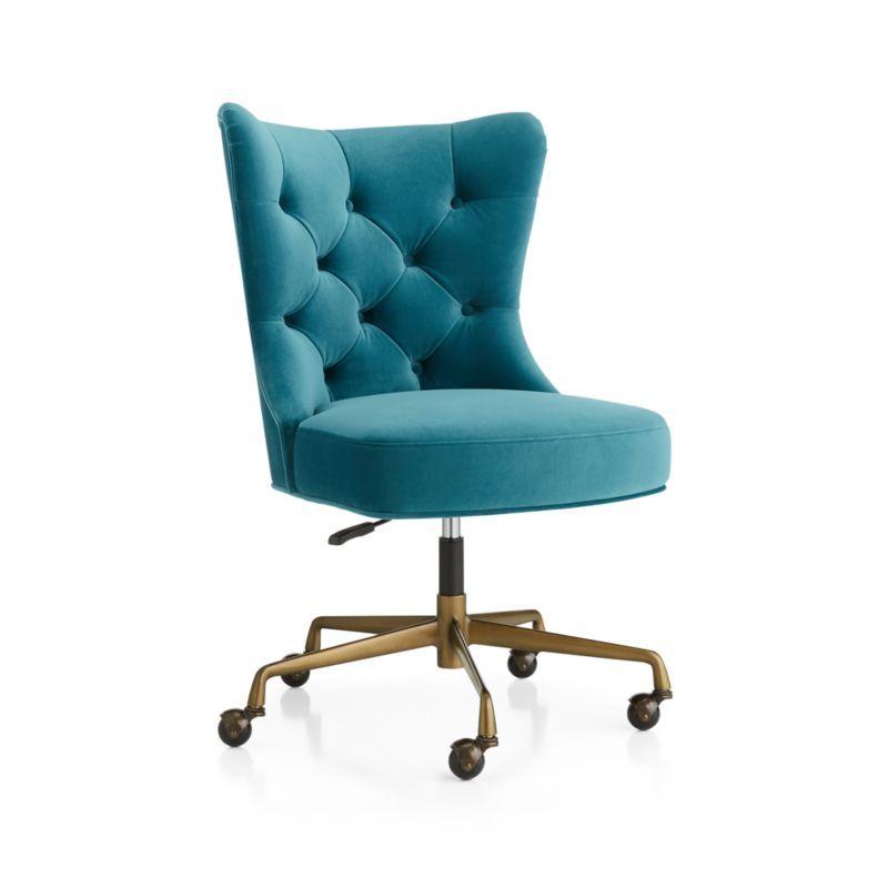 Isla Teal Velvet Office Chair | Velvet office chair, Home ...