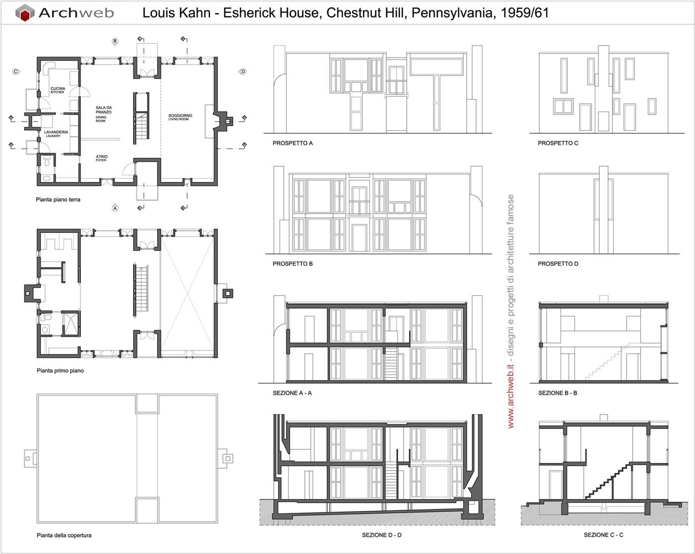 Esherick house dwg drawings noussi pinterest for Dwg house plans