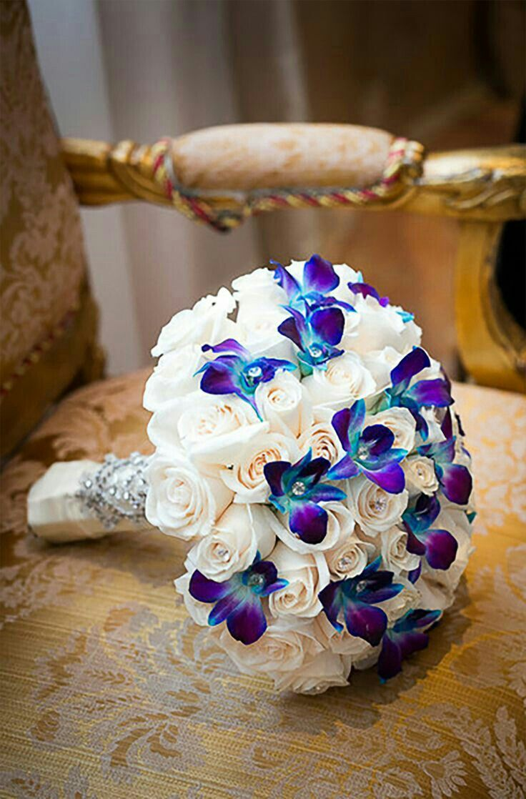 Glam Purple And White Wedding Bouquet Roses Blue Orchids Joshua Zuckerman Photography