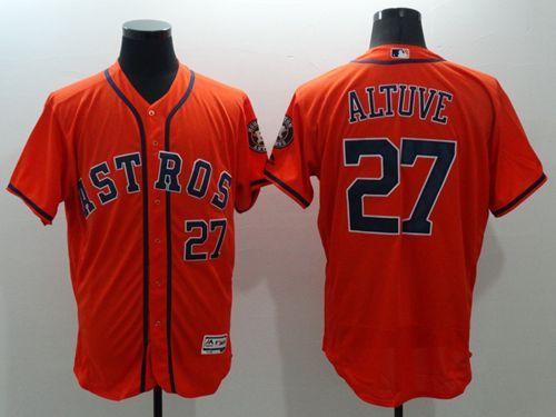 16a3c9fbdb4 Astros  27 Jose Altuve Orange Flexbase Authentic Collection Stitched MLB  Jersey