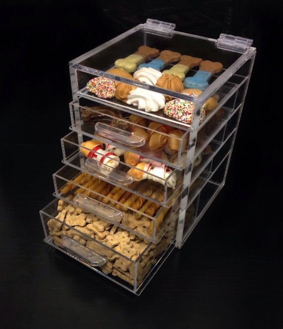 Cutie Cube Dog Treat Organizer   Clear Acrylic Storage Cube Comtainer With  Drawers   Great Glass