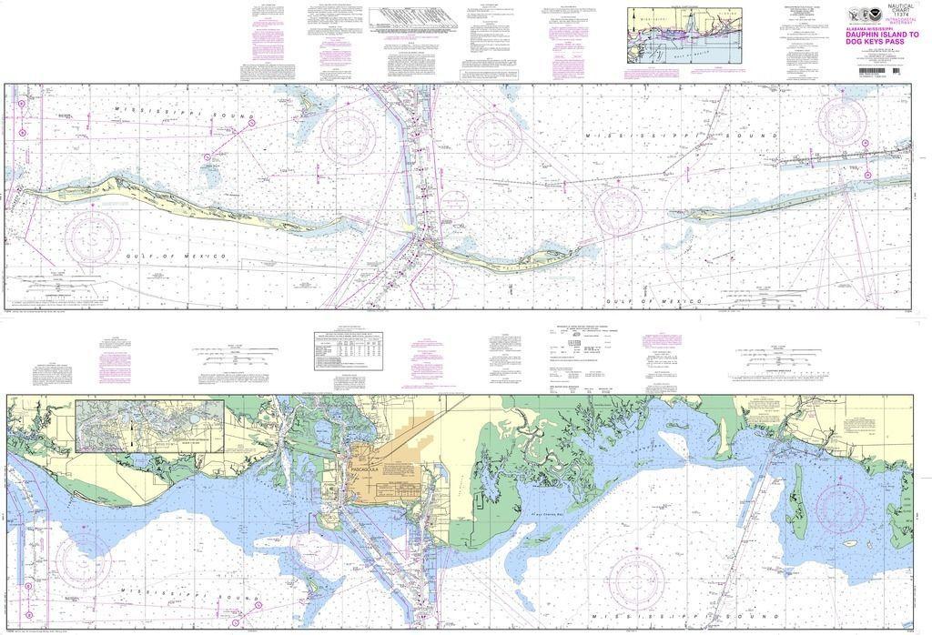 noaa nautical chart 11374 intracoastal waterway dauphin island to dog keys pass